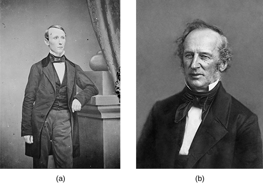 Photograph (a) is a portrait of William Walker. Photograph (b) is a portrait of Cornelius Vanderbilt.