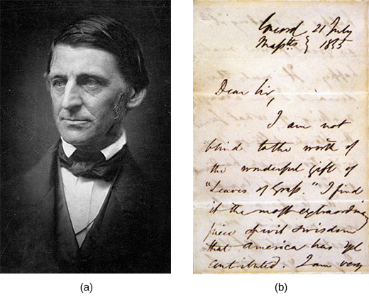 "Photograph (a) is a portrait of Ralph Waldo Emerson. Document (b) is a letter from Emerson to Walt Whitman. The visible text reads ""Dear Sir, I am not blind to the worth of the wonderful gift of Leaves of Grass. I find it the most extraordinary piece of wit and wisdom that America has yet contributed. I am very [remainder of the letter is not visible]."""