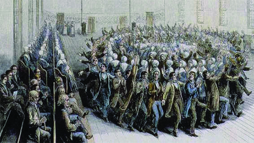An illustration depicts a mass of people dancing in concentric circles, arms raised, with men and women alternating. Others watch from rows of seats; men sit in one section and women in another.