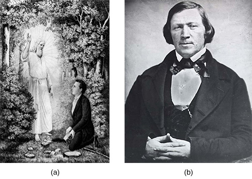 Illustration (a) depicts a wooded clearing in which a bearded, white-robed angel delivers the Book of Mormon to Joseph Smith, who kneels at the angel's feet in a dark suit. Photograph (b) is a portrait of Joseph Smith.