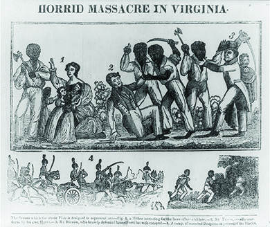 "A four-paneled engraving depicts scenes from Nat Turner's Rebellion. The first shows a well-dressed white woman holding several children, with one hand raised in defense as a hatchet-bearing black man in shabby dress prepares to strike. The second shows a well-dressed white man falling to the ground, holding up a hand in self-defense, as two black men attack him with knives. The third shows a well-dressed white man and a black man engaged in hand-to-hand combat, each wielding a knife. The fourth shows a group of uniformed, mounted white men pursuing several black men, who flee on foot. The text on the bottom reads, ""The Scenes which the above plate is designed to represent are Fig 1. a mother intreating for the lives of her children. -2. Mr. Travis, cruelly murdered by his own Slaves. -3. Mr. Barrow, who bravely defended himself until his wife escaped. -4. A comp. of mounted Dragoons in pursuit of the Blacks."""