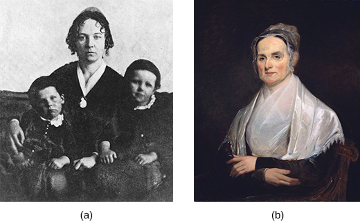 Photograph (a) shows Elizabeth Cady Stanton seated with two children. Painting (b) is a portrait of Lucretia Mott.