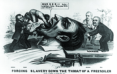 "A political cartoon entitled ""Forcing Slavery Down the Throat of a Free Soiler"" shows a larger-than-life Free-Soiler lying on his back with his mouth open, tied to a dock labeled ""Democratic Platform,"" with planks labeled ""Kansas,"" ""Cuba,"" and ""Central America."" Stephen Douglas and Franklin Pierce stand on the Free-Soiler's chest and push a black man down his throat; the black man says ""MURDER!!! Help - neighbors help. O my poor Wife and Children."" James Buchanan and Lewis Cass, who stand on the platform, each grasp a lock of the Free-Soiler's hair to hold him down. In one corner of the image, a home burns down as a woman and child flee; in the other, a lynched man hangs from a tree."