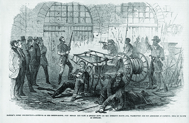 """An illustration shows John Brown and others with rifles and pikes, holding a small group of men hostage inside the engine house of Harpers Ferry Armory. Several other men lie injured on the ground. The caption reads """"Harper's Ferry insurrection—Interior of the Engine-House, just before the gate is broken down by the storming party—Col. Washington and his associates as captives, held by Brown as hostages."""""""