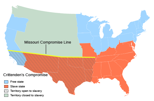 A map shows the Missouri Compromise line, as well as those states and regions below the Missouri Compromise line that would be affected by Crittenden's Compromise.