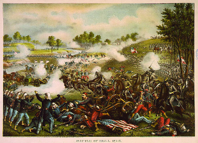 An illustration depicts the First Battle of Bull Run. Union soldiers and horses fall in disarray as Confederates attack; a crumpled American flag lies on the ground beneath the casualties.