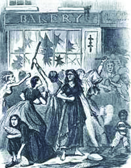 "An illustration shows a crowd of women and children, some of whom are gaunt and scantily dressed, breaking the windows of a storefront marked ""Bakery"" with sticks and running off with loaves of bread."