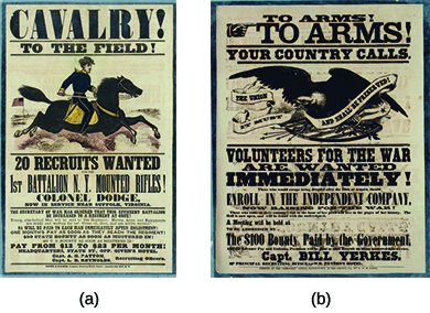 "Two Union recruitment posters are shown. Poster (a), which depicts a soldier mounted on a horse, contains the text ""Cavalry! To the field! 20 Recruits Wanted / 1st Battalion N.Y. Mounted Rifles!"" Poster B, which depicts an eagle holding a banner bearing the words ""The Union / it must and shall / be preserved,"" contains the text ""To Arms! To Arms! Your Country Calls. Volunteers for the war are wanted immediately! The Union must and shall be preserved! Those who would escape being drafted after the 10th of August, should enroll in the independent company, now raising for the war! Those who come to their country's call in the hour of her peril will live in the pages of her history. The Roll is now open, and will be found with the undersigned. A meeting will be held at [blank]. To be addressed by [blank]. The $100 bounty paid by the government, and the advance pay and enlisting premium will be paid to each recruit on being mustered into service. Capt. Bill Yerkes. Principal recruiting office: –WM. Fenton's Hotel. Printed at the 'Democrat' office, Doylestown, Bucks County, PA., by W.W.H. Davis."""