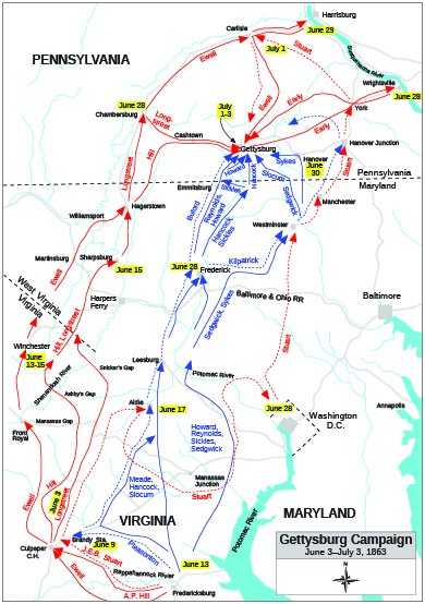 A map of the Gettysburg campaign is shown.