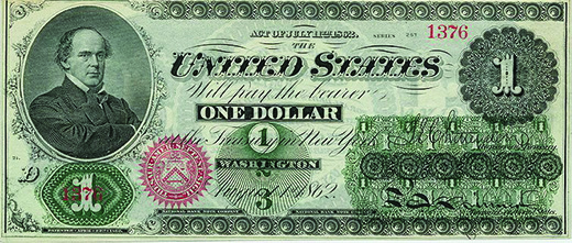 "A Union one dollar ""greenback"" is shown. In the upper left-hand corner is a portrait of Salmon P. Chase, the U.S. Treasury secretary under Abraham Lincoln."