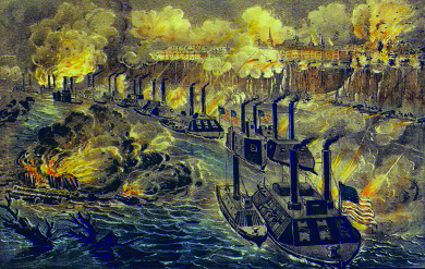 An illustration depicts a long line of Union gun boats firing on Vicksburg from the Mississippi River.