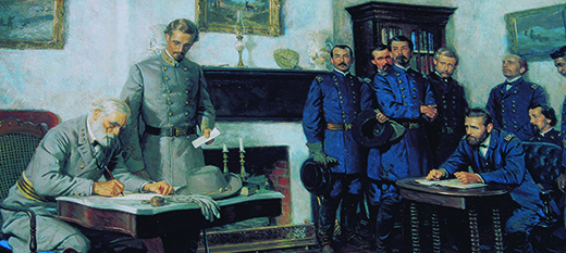 A painting depicts Robert E. Lee seated at a desk, signing a document as Ulysses S. Grant, a Confederate soldier, and a group of Union soldiers look on.