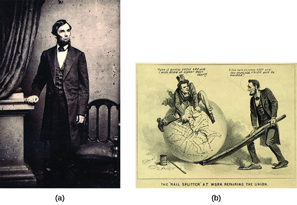 "Photograph (a) shows a standing portrait of Lincoln. Cartoon (b), titled ""The 'Rail Splitter' at Work Repairing the Union,"" shows Andrew Johnson sitting atop a globe, mending a map of the United States with a needle and thread. Beside him, Lincoln holds the globe in place using a large split rail. Johnson says ""Take it quietly Uncle Abe and I will draw it closer than ever!!!"" Lincoln replies, ""A few more stitches Andy and the good old Union will be mended!"""