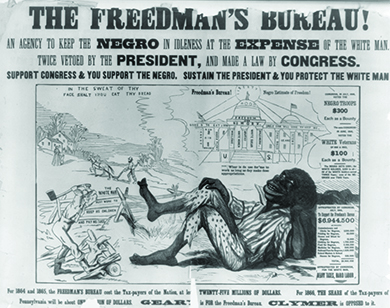 """An illustration shows a highly caricatured black man in tattered clothes reclining in the foreground as white men work his land, thinking, """"Whar is de use for me to work as long as dey make dese appropriations."""" Near the white men are the words """"In the sweat of thy face shalt thou eat thy bread"""" and """"The white man must work to keep his children and pay his taxes."""" In the sky, an image of an elegant official building hovers, labeled """"Freedman's Bureau! Negro Estimate of Freedom!"""" The building is inscribed with the words """"Freedom and No Work,"""" """"Candy,"""" """"Rum, Gin, Whiskey,"""" """"Sugar Plums,"""" """"Indolence,"""" """"White Women,"""" """"Apathy,"""" """"White Sugar,"""" """"Idleness,"""" """"Fish Balls,"""" """"Clams,"""" """"Stews,"""" and """"Pies."""" On the right-hand side of the image, the artist provides figures for the funds appropriated by Congress for the Freedmen's Bureau and the bounties of black and white Civil War veterans."""