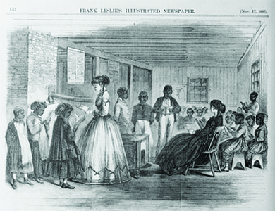 An illustration shows several white women in a schoolroom, surrounded by young black pupils reading schoolbooks.