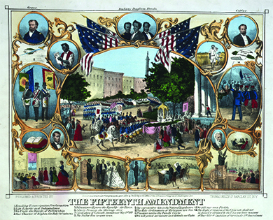 "An illustration depicts a series of scenes and portraits, shown in gilded frames and surrounded by American flags, relating to black rights and the passage of the Fifteenth Amendment. A large central scene shows the parade celebrating the Fifteenth Amendment's passage. In the upper corners, portraits of Ulysses S. Grant and Schuyler Colfax are shown. Other scenes include a black man reading the Emancipation Proclamation; three black men with Masonic paraphernalia (labeled ""We Unite in the Bonds of Fellowship with the Whole Human Race""); a Bible (labeled ""Our Charter of Rights""); a black classroom scene (labeled ""Education Will Prove the Equality of the Races""); a black pastor preaching to a congregation (labeled ""The Holy Ordinances of Religion Are Free""); two free blacks tilling their own fields; a black officer commanding his troops (labeled ""We Will Protect Our Country as It Defends Our Rights""); a black man reading to his family (labeled ""Freedom Unites the Family Circle""); a black wedding ceremony (labeled ""Liberty Protects the Marriage Alter""); a black man voting (labeled ""The Ballot Box Is Open To Us""); and Hiram Revels in the House of Representatives (labeled ""Our Representative Sits in the National Legislature""). Other individual portraits include Abraham Lincoln, Hiram Revels, Martin Delany, Frederick Douglass, and John Brown."