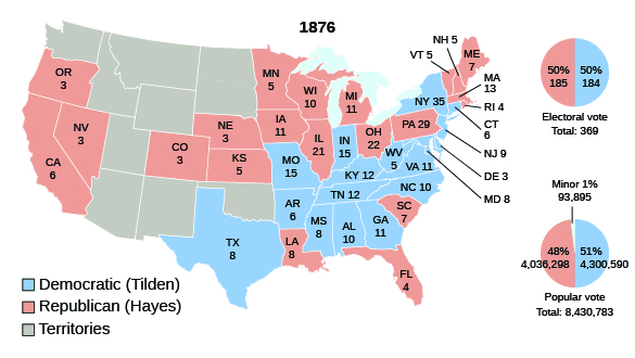 a map shows the electoral votes cast for republican candidate hayes and democratic candidate tilden in