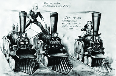 A Currier & Ives lithograph shows a cartoon of Cornelius Vanderbilt straddling two train engines labeled Hudson River R.R. and N.Y. Central R.R. while trying to convince a man on a train engine labeled Erie R.R. to join his company.
