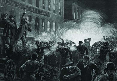 An engraving shows labor activist and anarchist Samuel Fielden giving an impassioned speech on a raised platform. Below him, a bomb explodes, and men and uniformed police charge through the streets.