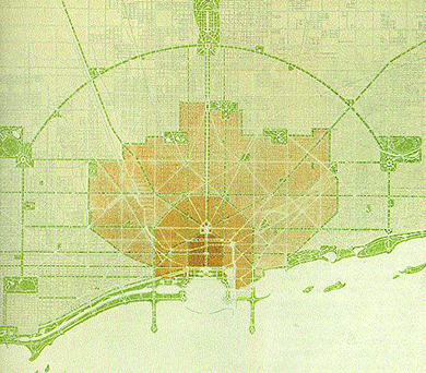A blueprint shows a plan from the City Beautiful movement in Chicago. The plan lays out the presence of green spaces, which proliferate especially along the lakefront.