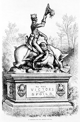 "A cartoon shows Andrew Jackson riding a pig, which is walking over ""fraud,"" ""bribery,"" and ""spoils,"" and feeding on ""plunder."""