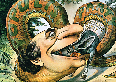 "A cartoon shows William Jennings Bryan's head on the end of a large snake labeled ""Populist Party."" He is eating a donkey labeled ""Democratic Party."""