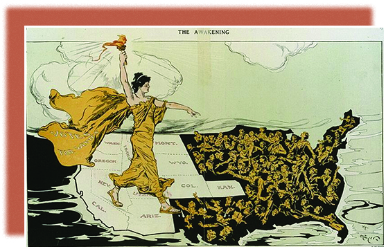 """A cartoon shows a suffragist standing on a map of the United States, wearing a flowing gown that bears the words """"Votes for Women."""" She holds a torch over the western states, which are bright and bear their state names; the rest of the nation appears as a dark abyss, from which crowds of desperate women reach up. The main figure walks toward these women, extending her other hand to them."""
