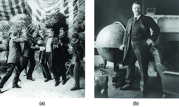 Drawing (a) depicts William McKinley's assassination. Photograph (b) is a portrait of Theodore Roosevelt.