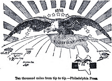 "A cartoon is captioned ""Ten thousand miles from tip to tip."" A portion of a globe is shown, with the United States at the top and various islands, including ""Porto Rico,"" ""Manila,"" ""Carolinas,"" and ""Samoa Ids."" labeled beneath. Above the globe, a giant bald eagle hovers, with the sun and a half-circle of stars behind it. In the lower corner, a tiny map with another eagle, labeled ""U.S. 1798,"" provides a contrast with the size and reach of the nation a century earlier."