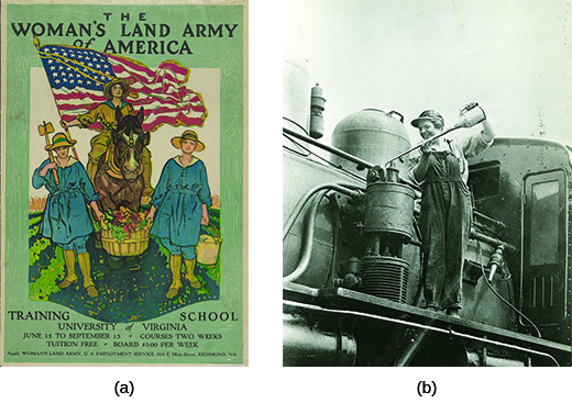 "Poster (a) depicts three women dressed for farm work. The middle woman is mounted on horseback, carrying a large American flag, with a farm visible around her. Beside her walk two women carrying a large basket of produce between them. The text reads ""The Women's Land Army of America. Training School. University of Virginia. June 15 to September 15. Courses two weeks. Tuition free. Board $5.00 per week. Apply Woman's Land Army. U.S. Employment Service. 910 E. Main Street. Richmond, VA."" Photograph (b) shows shows Eva Abbott, a female worker, oiling one of the Erie Railroad's locomotives."