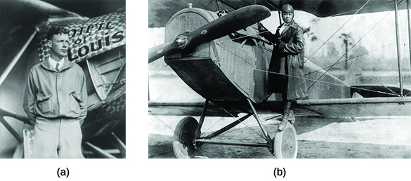 "Photograph (a) shows Charles Lindbergh standing in front of a plane labeled ""Spirit of St. Louis."" Photograph (b) shows Bessie Coleman posing on the wheel of a plane."