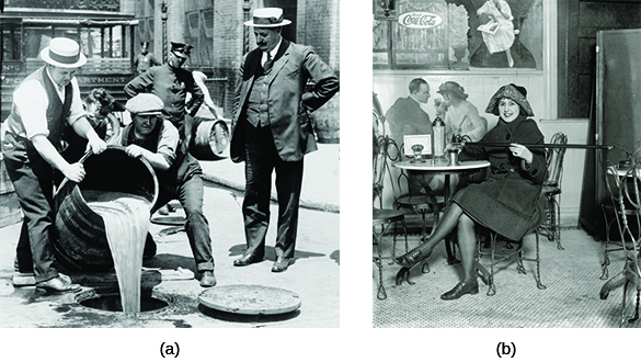 Photograph (a) shows several men pouring a large barrel of alcohol down a manhole as a uniformed policeman watches from behind them. Photograph (b) shows a smiling young woman sitting in a café, using a flask hidden at the tip of her cane.