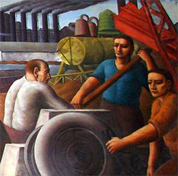 A mural depicts three industrial workers engaged in various tasks.