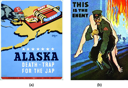 """Poster (a) depicts a mouse, heavily caricatured to appear Japanese, crawling toward a mousetrap that sits atop a land mass shaped like Alaska. The trap is labeled """"Army / Civilian / Navy,"""" and the text beneath reads """"Alaska / Death-Trap for the Jap."""" Poster (b) depicts a heavily caricatured Japanese military official with a nude white woman thrown helplessly over one shoulder; a massive fire rages in the background, where hanging bodies are also visible. The text reads """"This is the Enemy."""""""