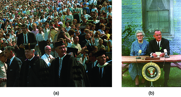 Photograph (a) shows President Johnson in academic regalia, standing alongside a crowd at the University of Michigan. Photograph (b) shows Johnson speaking while seated at a table beside an elderly woman; both have small microphones in front of them.