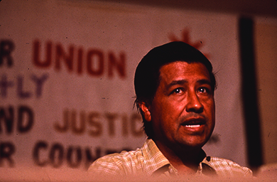 A photograph shows Cesar Chavez speaking.