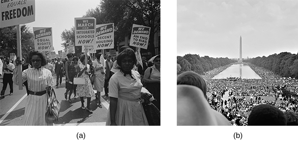 """Photograph (a) shows a group of African American protesters marching in the street, carrying signs that read """"We demand equal rights NOW!""""; """"We march for integrated schools NOW!""""; """"We demand equal housing NOW!""""; and """"We demand an end to bias NOW!"""" Photograph (b) shows a massive crowd gathered on the National Mall during the March on Washington."""