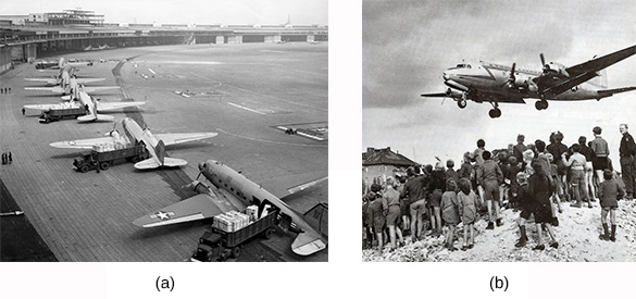 Photograph (a) shows a row of C-47 transport planes awaiting takeoff. Photograph (b) shows a crowd of German men, women, and children watching as a plane above them prepares to land.