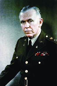 A photograph of George C. Marshall is shown.