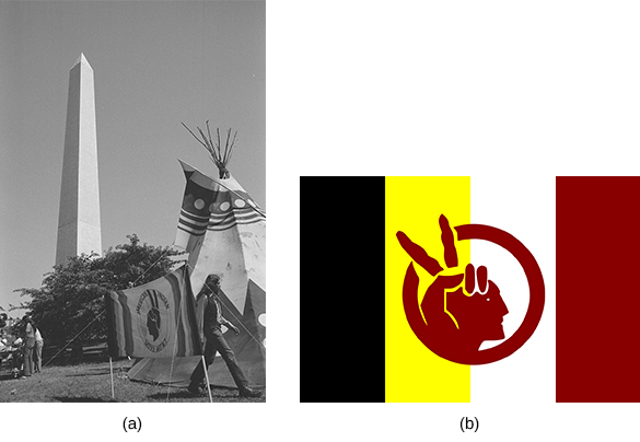"Photograph (a) shows a large teepee with the AIM flag beside it; the Washington Monument looms in the background. Image (b) shows the AIM flag. The background contains four stripes of black, yellow, white, and red. In the center, a red circle shows a silhouette of an Indian man's head; his headdress is formed by a hand making a ""peace"" sign."