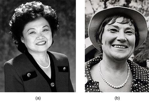 Photograph (a) shows Patsy Mink. Photograph (b) shows Bella Abzug.