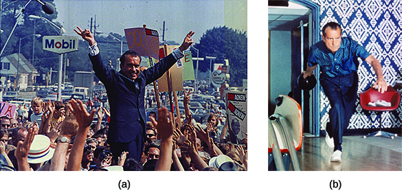 "Photograph (a) shows Richard Nixon elevated in the middle of a large crowd, with his arms outstretched in a ""V""; he also forms ""V"" shapes with the second and third fingers of each hand. Photograph (b) shows Nixon bowling in the White House bowling alley."