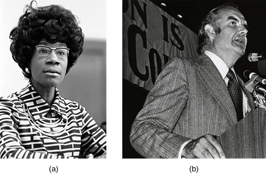 Photograph (a) shows Shirley Chisholm. Photograph (b) shows George McGovern speaking at a lectern.