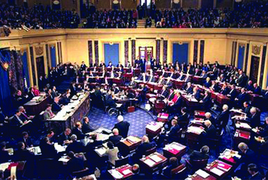A photograph shows an aerial view of proceedings on the Senate floor during Bill Clinton's impeachment trial.