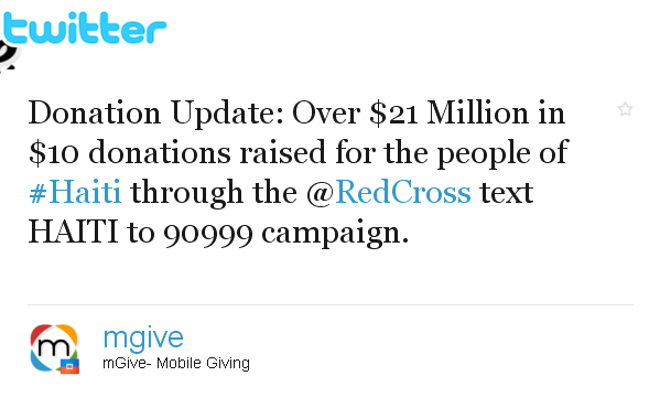 A screenshot of the Twitter page for #Haiti donations is shown here. The tweet reads: Donation Update: Over $21 Million in $10 donations raised for the people of #Haiti through the @RedCross Text HAITI to 90999 campaign.