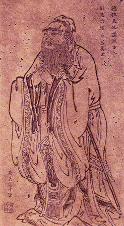 Figure (b) shows an ancient Chinese man.