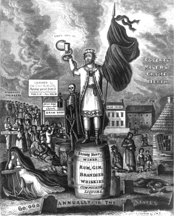 """An old engraving depicting """"King Alcohol"""" is shown."""