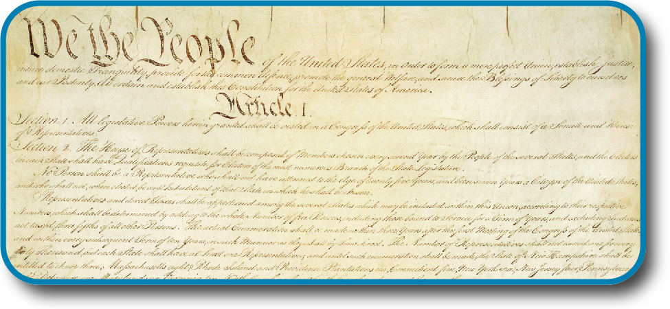 "A photo of the U.S. Constitution displays the headings, ""We the People"" and ""Article I."""