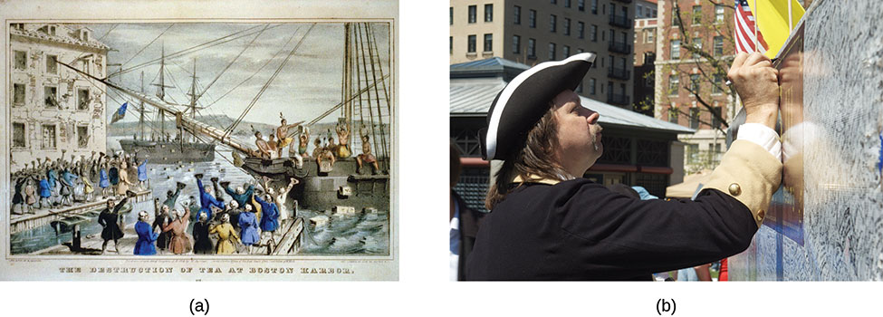 The lithograph in Part a shows a scene from the Boston Tea Party where protestors emptied tea chests into the Boston Harbor. Photo b shows a participant in a Tea Party Express rally, dressed in colonial clothing, writing on a wall.