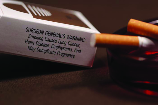 "A photo of a cigarette box and two cigarettes. The cigarettes are resting in an ashtray. Text on the cigarette box reads ""Surgeon General's Warning: Smoking causes lung cancer, heart disease, emphysema, and may complicate pregnancy""."